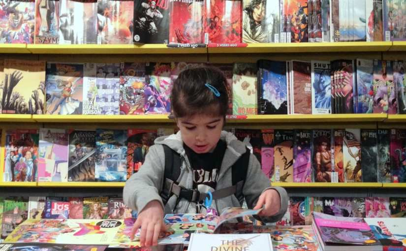 Girl in comic shop
