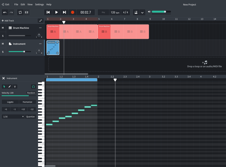 Adding notes in Bandlab using the MIDI Editor