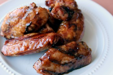 Hot Honey BBQ chicken wings on the Big Green Egg