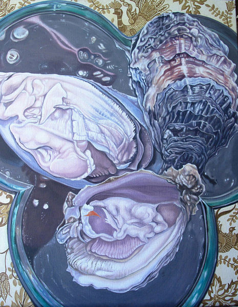 """Three Oysters on a Mirrored Plate 24"""" x 30"""" (610 x 760mm)"""