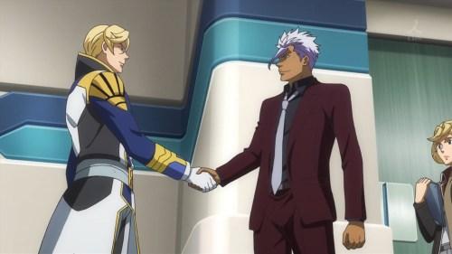 握手するマクギリスとオルガ(第29話)