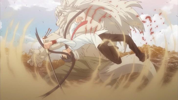 時坂九郎丸と人狼の戦闘シーン
