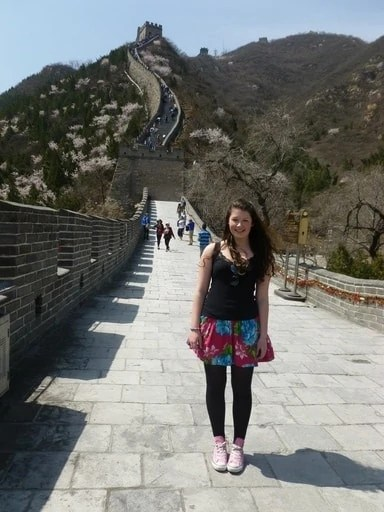 Girl standing on the Great Wall of China
