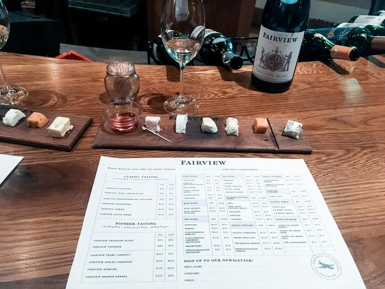 Fairview Wine Estate wine and cheese tasting board in Stellenbosch