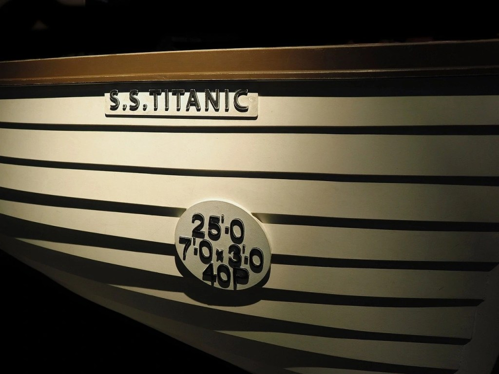 An artefact of a lifeboat used on the Titanic