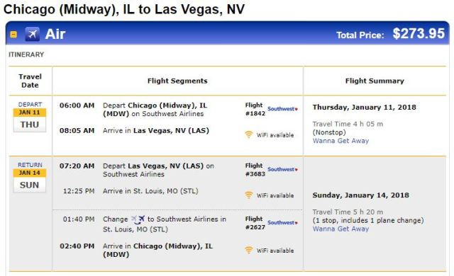 Southwest Airlines Chicago to Las Vegas January 2018 Cheap Airlines