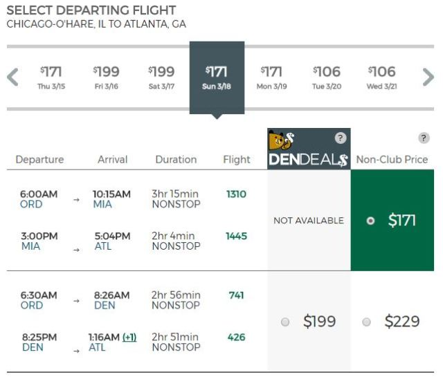Discount Den or $9 Fare Club Frontier Price Chicago to Atlanta