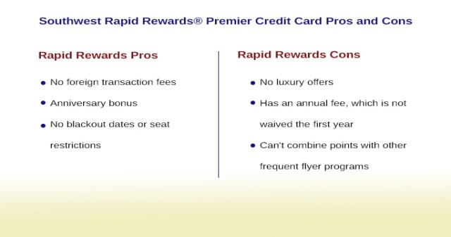 Southwest Rapid Rewards Premier Credit Card Pros and Cons Loyalty Program