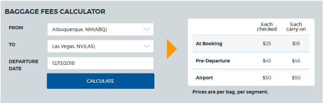 Allegiant Air Baggage Cost Calculator