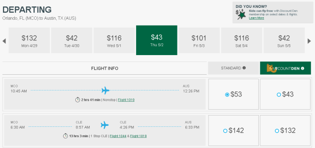 Flights departing from Orlando, FL to Austin, TX