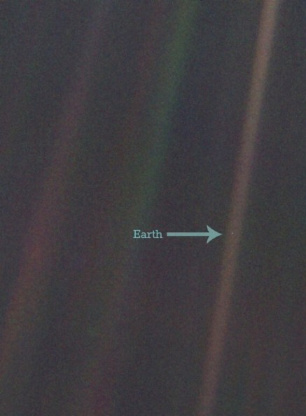 The Pale Blue Dot, as photographed by Voyager 1 (NASA)