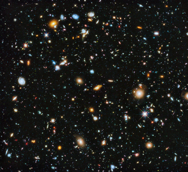 The early galaxies, as imaged by the Hubble Space Telescope.