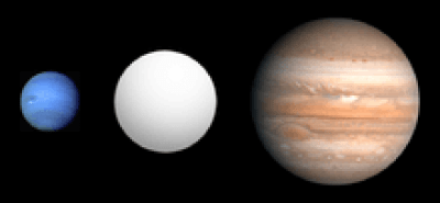 Neptune and Jupiter alongside the planet formerly known as HD 149026b, and now called Smertrios. The measured density of the planet -- along with its mere 4-day orbit around its sun -- have made it a scientifically important subject of study. (NASA/JPL-Caltech)