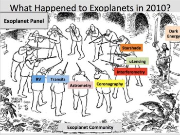 "A cartoon from Chas Beichman's ExoPAG presentation illustrates the infighting within the exoplanet science community during the 2010 decadal survey, with cosmologists, represented by ""dark energy"" to the side, ready to reap the benefits of that debate."