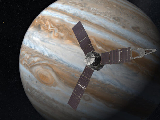 Artist rendering of Juno spacecraft in orbit around Jupiter. NASA