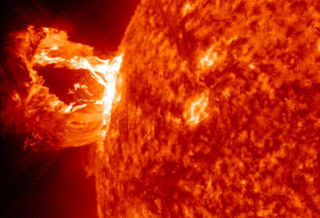 An eruption on April 16, 2012 was captured here by NASA's Solar Dynamics Observatory in the 304 Angstrom wavelength, which is typically colored in red. Credit: NASA/SDO/AIA
