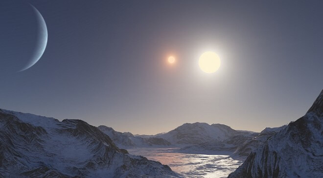 Illustration of what a sunset might look like on a moon orbiting Kepler 47c and its two suns. (Softpedia)