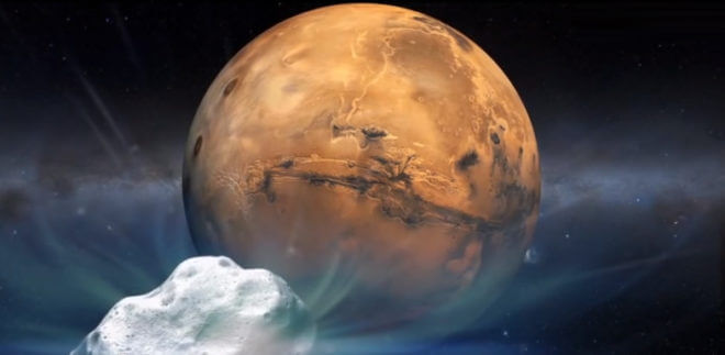 Did meteorites spread life between planets, and maybe even solar systems? Some pretty distinguished people think that it may well have happened. This illustration is an artist's rendering of the comet Siding Spring approaching Mars in 2015.