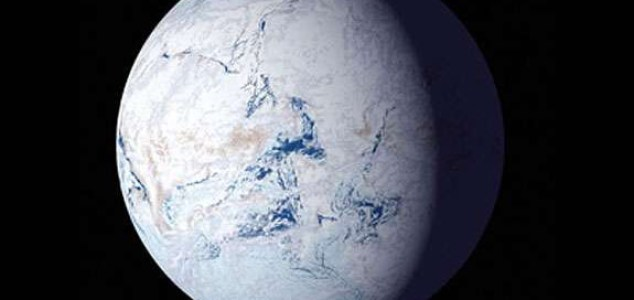 "Snowball, or ""slushball"" Earths have occurred several times in Earth history, covering large swaths and perhaps at times all of the planet in glacial ice and snow. NSF"
