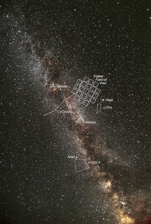 The Kepler field of study, observed by the space telescope nonstop for almost five years. (NASA)