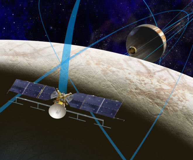 NASA hopes the Europan Clipper will fly in the early or mid 2020s and will search for signs of habitability. It is expected to circle the moon for three years. (NASA/JPL-Caltech)