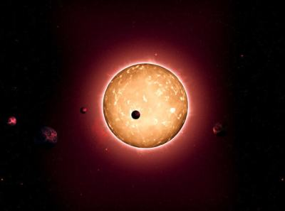 Kepler-444 hosts five Earth-sized planets in very compact orbits. The planets were detected from the dimming that occurs when they transit the disc of their parent star, as shown in this artist's conception. Credit: Tiago Campante/Peter DevineKepler-444 is a metal-poor Sun-like star located in the constellation Lyra, 116.4 light-years away. Also known as HIP 94931, KIC 6278762, KOI-3158, and LHS 3450, this pale yellow-orange star is very bright and can be easily seen with binoculars. It was formed 11.2 billion years ago, when the Universe was less than 20 percent its current age. It is approximately 25 percent smaller than the Sun and substantially cooler.