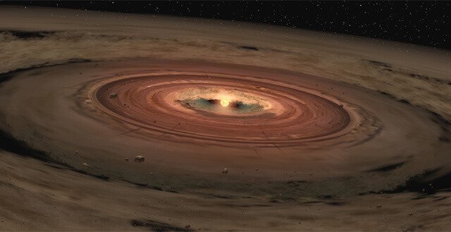 Artist rendering of early stages of planet formation in the swirl and debris of the disk of a new star. (NASA/JPL-Caltech)