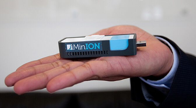 A state-of-the-art instrument for reading DNA sequences in the field. The MIT/Harvard team is working with the company that makes it, and several others, on refining how it would do that kind of sequencing on Mars. (Oxford Nanopore)