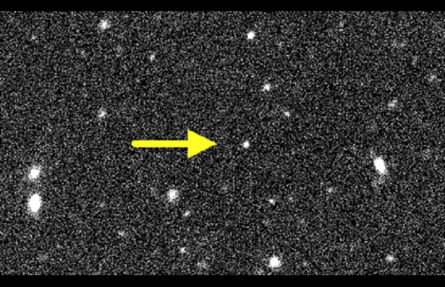 Object V774104 was discovered in late October, 2015, and is one of the most distant objects ever detected in the solar system. It appears to be about half the size of Pluto, but with an orbit two to three times larger than Pluto's. Credit: Scott Sheppard, Chad Trujillo and Dave Tholen: Subaru Telescope
