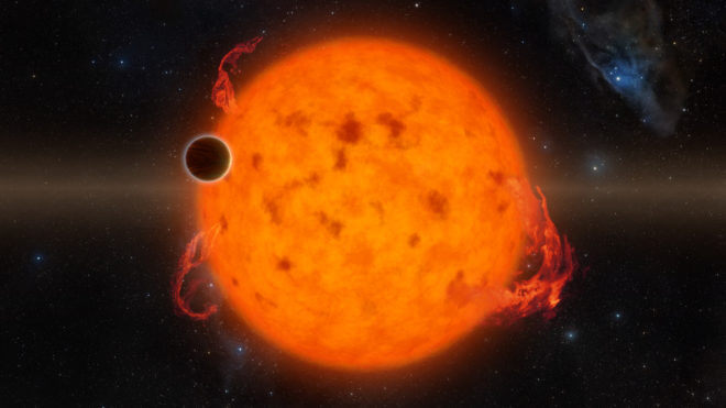 K2-33b, shown in this illustration, is one of the youngest exoplanets detected to date. It makes a complete orbit around its star in about five days. Credits: NASA/JPL-Caltech