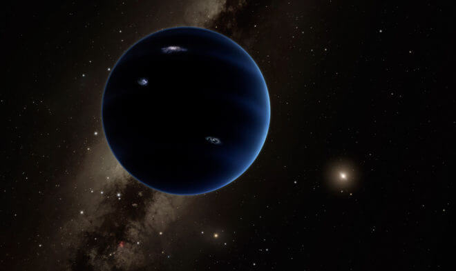 Artist rendering of possible Planet 9, described in a recent edition of the Astronomical Journal. The authors estimate that the planet comes as close to the sun as 100-200 astronomical units (the distance from the Earth to the Sun) and travels as far away as 1200 AUs. (Caltech/R. Hunt)