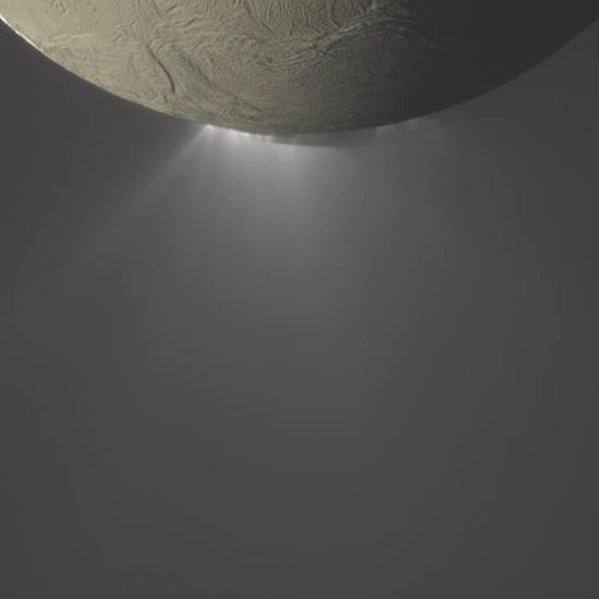Glittering geysers of water ice erupt from Saturn's enigmatic moon Enceladus as seen during a previous flyby. The plumes are backlit by the sun, which is almost directly behind the moon. The moon's dark side that we see here is illuminated by reflected Saturn-shine. Today, the Cassini spacecraft flew right through the plumes in order to let its instruments 'taste' them. Credit: NASA/JPL/SSI/Ugarkovich