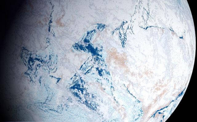 "A rendering of the theorized ""Snowball Earth"" period when, for millions of years, the Earth was entirely or largely covered by ice, stretching from the poles to the tropics. This freezing happened over 650 million years ago in the Pre-Cambrian, though it's now thought that there may have been more than one of these global glaciations. They varied in duration and extent but during a full-on snowball event, life could only cling on in ice-free refuges, or where sunlight managed to penetrate through the ice to allow photosynthesis."