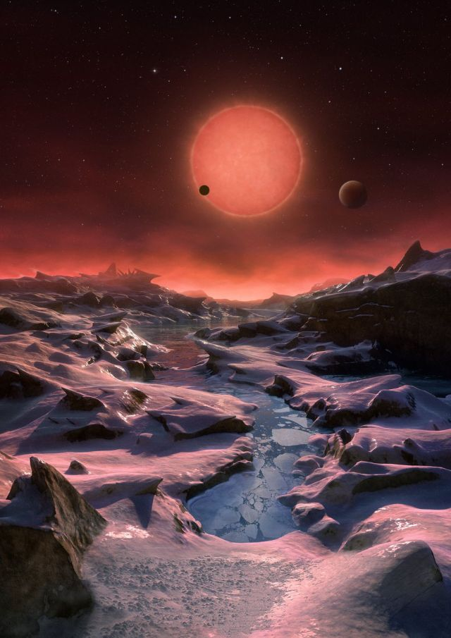 his artist's illustration depicts an imagined view from the surface of one of the three newfound TRAPPIST-1 alien planets. The planets have sizes and temperatures similar to those of Venus and Earth, making them the best targets yet for life beyond our solar system, scientists say. Credit: ESO/M. Kornmesser