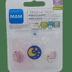 Chupete original night silicona rosa 0+ Mam