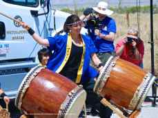 """Sydney Shiroyama of UCLA Kyodo Taiko performs their signature song, """"Encore."""""""