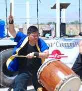 """Trent Oshiro of UCLA Kyodo Taiko performs their signature song, """"Encore."""""""