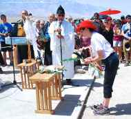 Karen Korematsu participates in the ritual Offering Of A Symbot of a True Heart