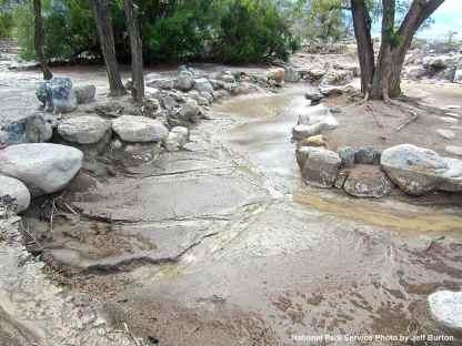 Extensive damage at Merritt Park: erosion and collapsed rocks