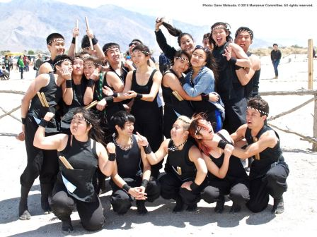 A group shot of UCLA Kyodo Taiko after their performance at the 46th Annual Manzanar Pilgrimage.