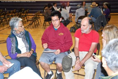 One of the small group discussions during the 2015 Manzanar At Dusk program. Dr. Satsuki Ina, keynote speaker earlier in the day at the 46th Annual Manzanar Pilgrimage, is on the left.