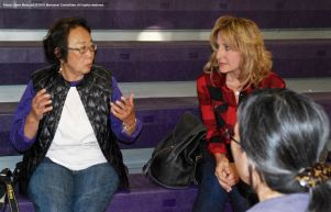 One of the small group discussions during the 2015 Manzanar At Dusk program. That's Mary Adams Urashima, who is leading the fight to save Historic Wintersburg in Huntington Beach, CA, on the right.