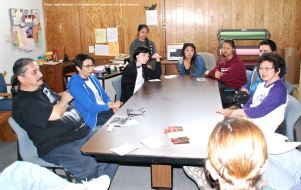 One of the small group discussions during the 2015 Manzanar At Dusk program. Florin JACL Co-President Marielle Tsukamoto is on the right.
