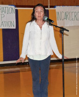 Cyndy Fujikawa, shown here during the open mic portion of the 2015 Manzanar At Dusk program.