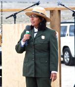 Manzanar National Historic Site Superintendent Bernadette Johnson, shown here addressing the crowd during the 47th Annual Manzanar Pilgrimage.