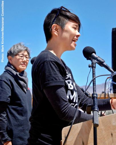 Co-emcee traci ishigo with Manzanar Committee member and co-emcee Pat Sakamoto (background)