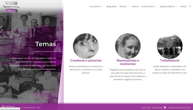 Sección Temas da web DoGrisAoVioleta.gal