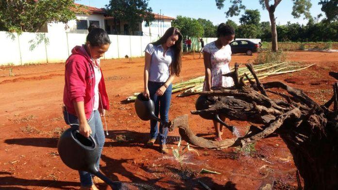 Lyvia Guilherme Monteiro em um dos momentos de aula prática (como preparar a terra).