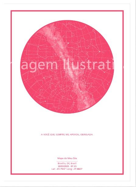 imagem do poster rosa do mapa do meu céu personalizado com frase de gratidão