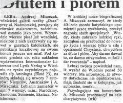 """Wiesław Baniak: """"Dłutem i piórem"""", Głos Pomorza nr 28 z dn. 02.02.1996 r., str. 3"""